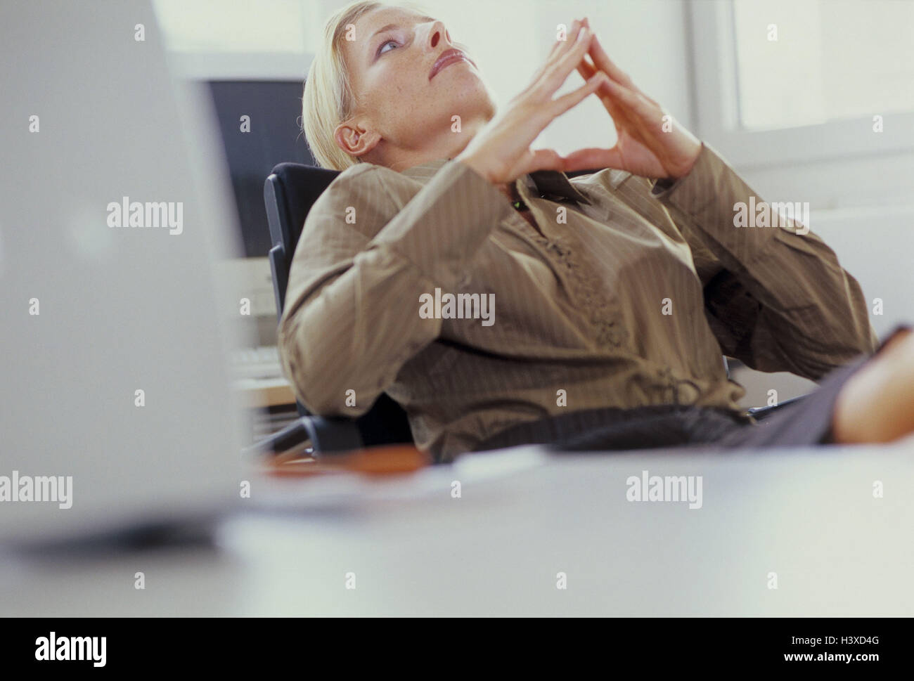 Office, manager, think, lean back, portrait, office workers, clerks, woman, businesswoman, consider, break, creativity, - Stock Image