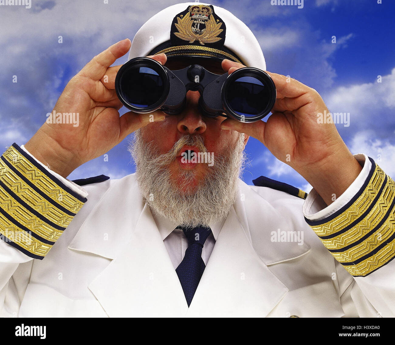 Composing, captain, binoculars, facial play, astonishment, portrait, cloudy sky concepts, senior, observation, observe, - Stock Image