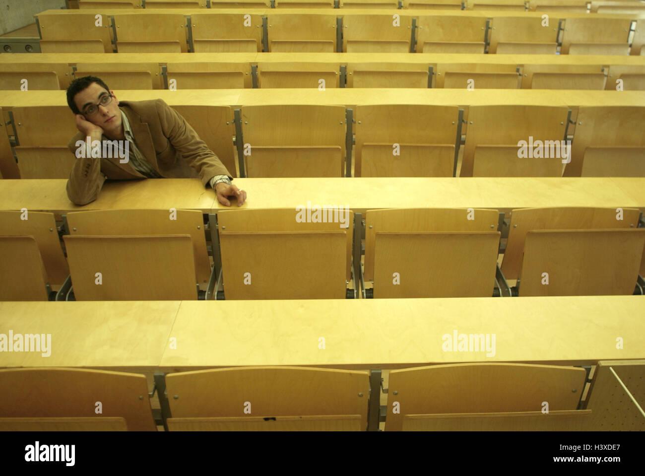 Auditorium, student, only, boredom, wait university, university, college, advanced technical college, study, man, - Stock Image