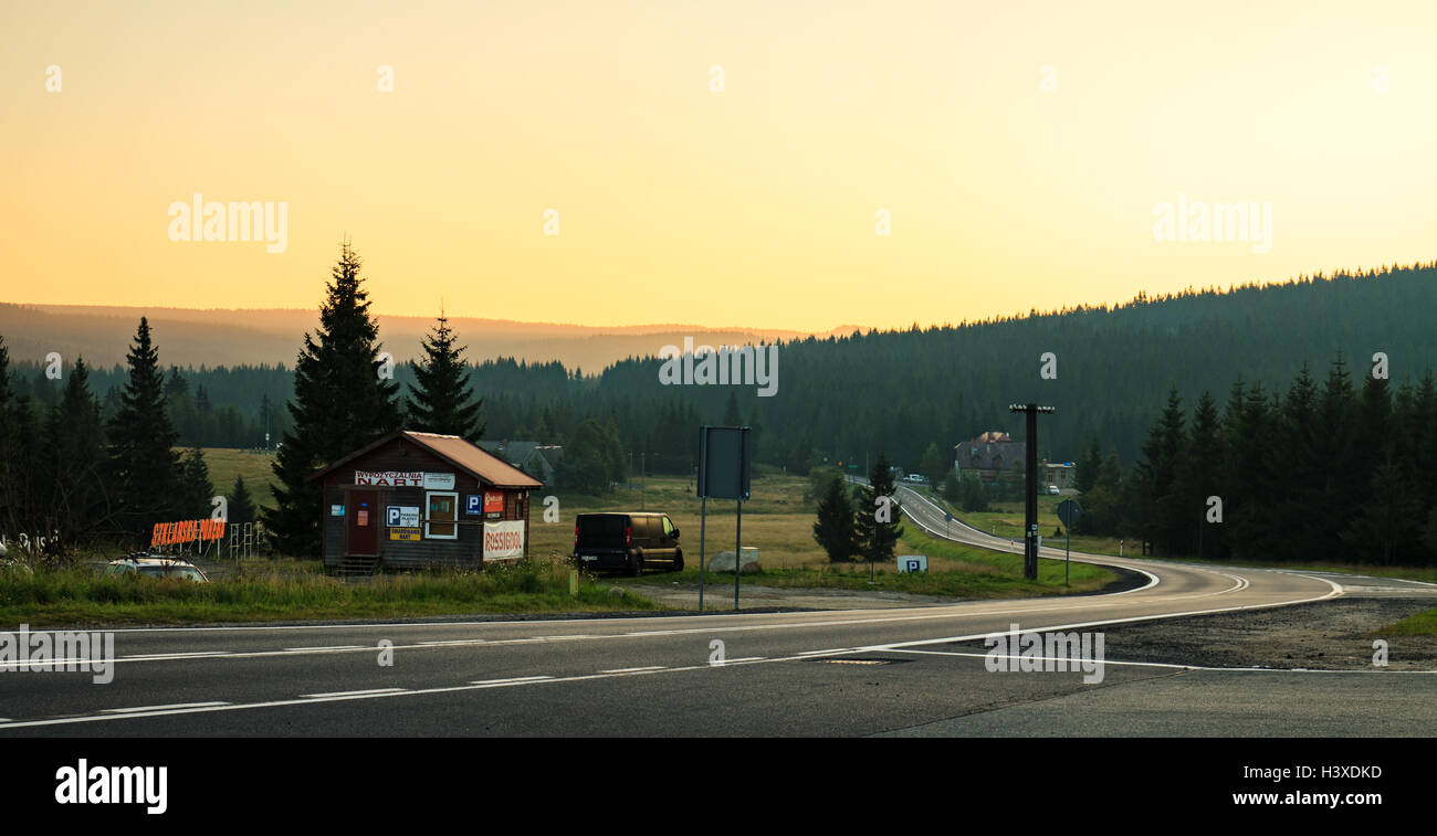 Szklarska Poreba / Jakuszyce, Poland - August 28,2016: Sunrise at Jakuszycka clearing, curves road to Szklarska - Stock Image