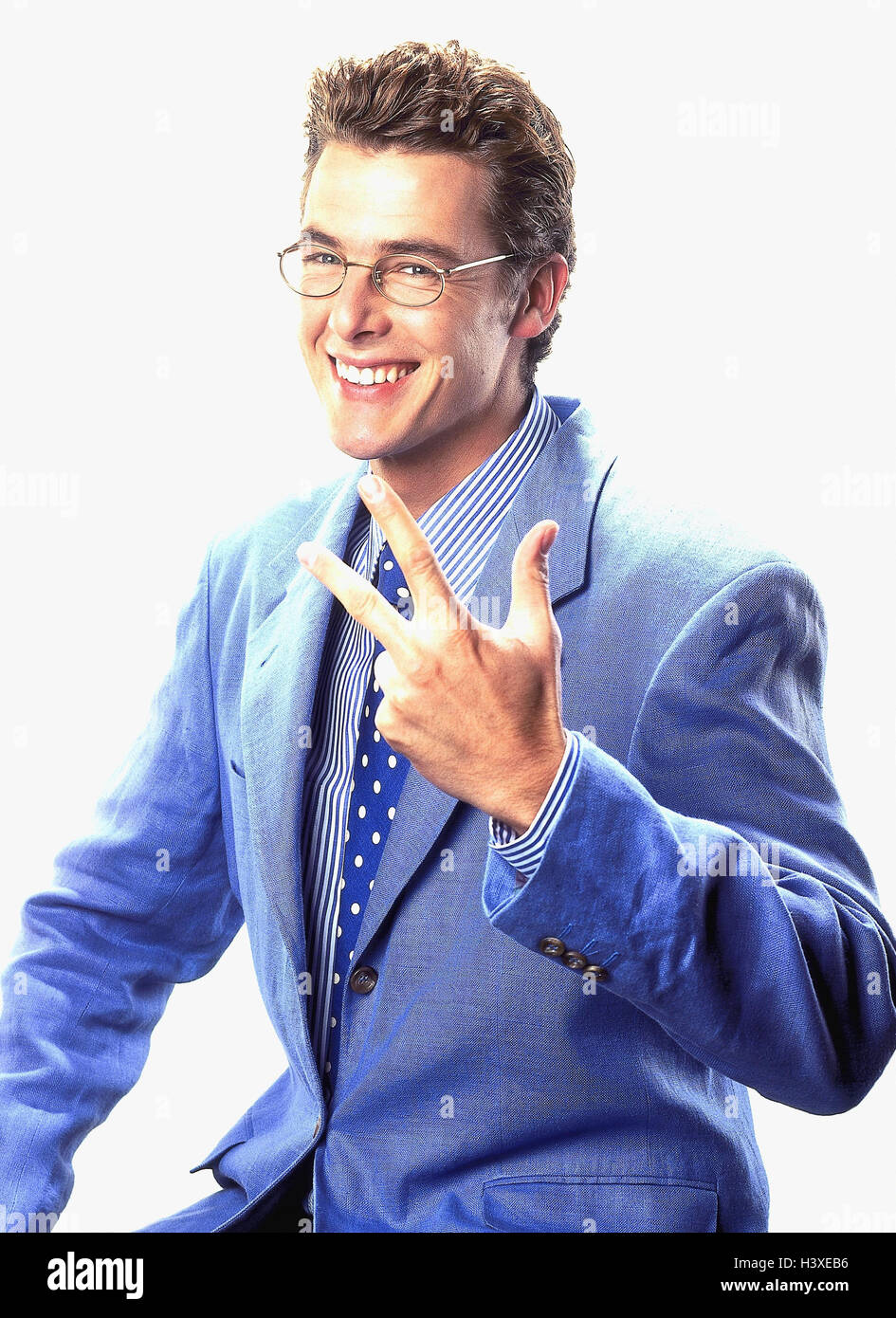 Man young suit glasses gesture number three