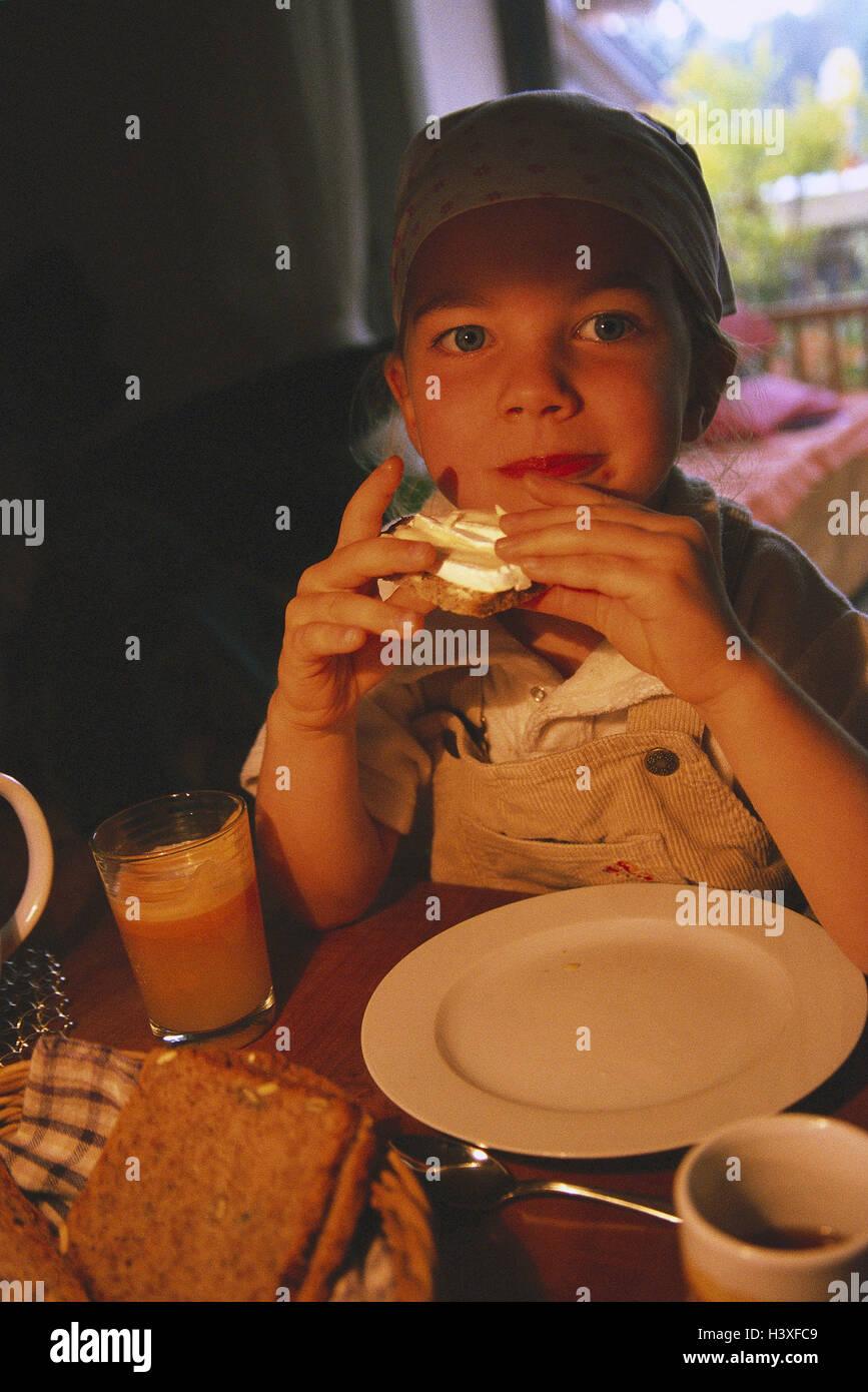 Child, girl, sit, eat, cheese sandwich girls, headscarf