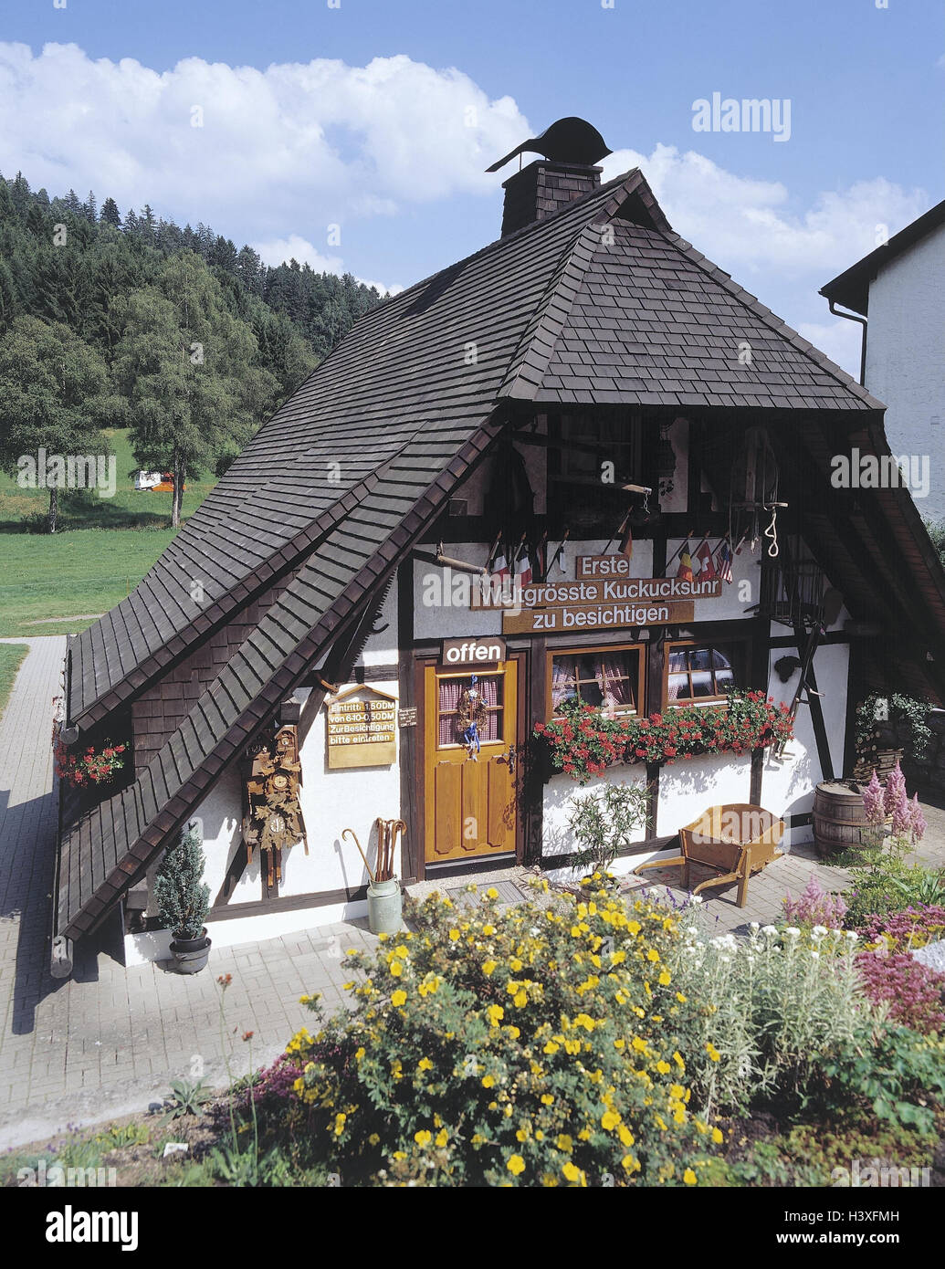 Germany, Black Forest, Schonach, souvenir business, cuckoo's clocks, outside, Baden-Wurttemberg, Black Forest - Stock Image