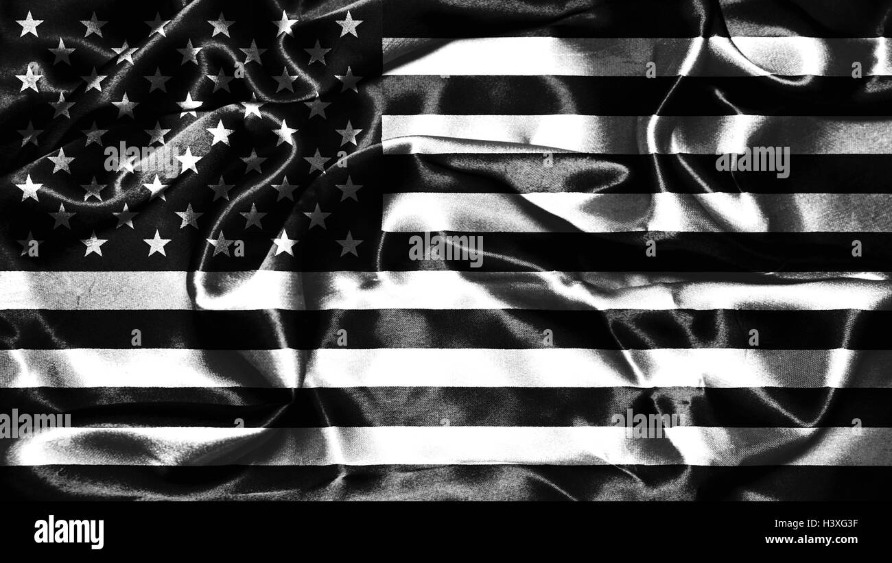 American Flag Grunge Looking In Black And White Stock Photo