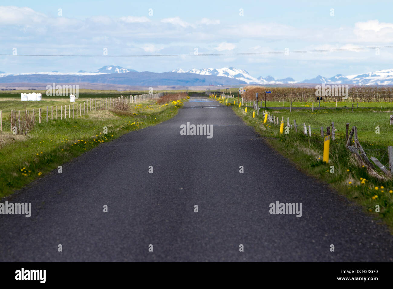 small rural tarmac remote road in Iceland - Stock Image