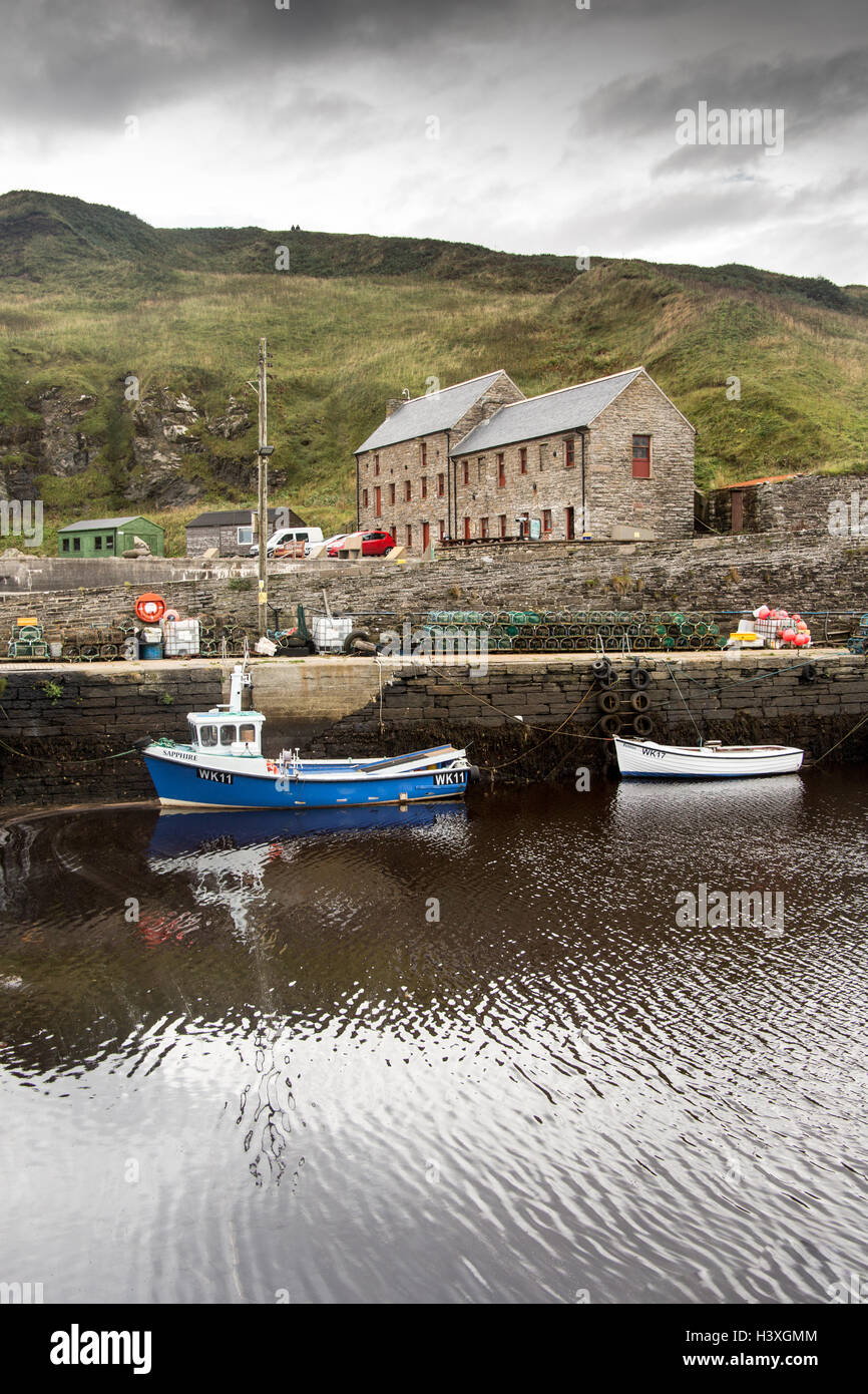 Waterlines Heritage Centre across the harbour, Lybster - Stock Image