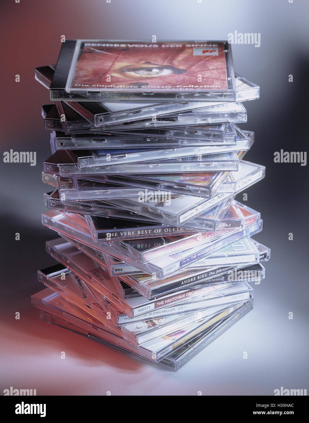 CD's, stacked, CD, compact disc, music, music CD's, product photography, data carrier, Still life, CD cover, batch, Stock Photo