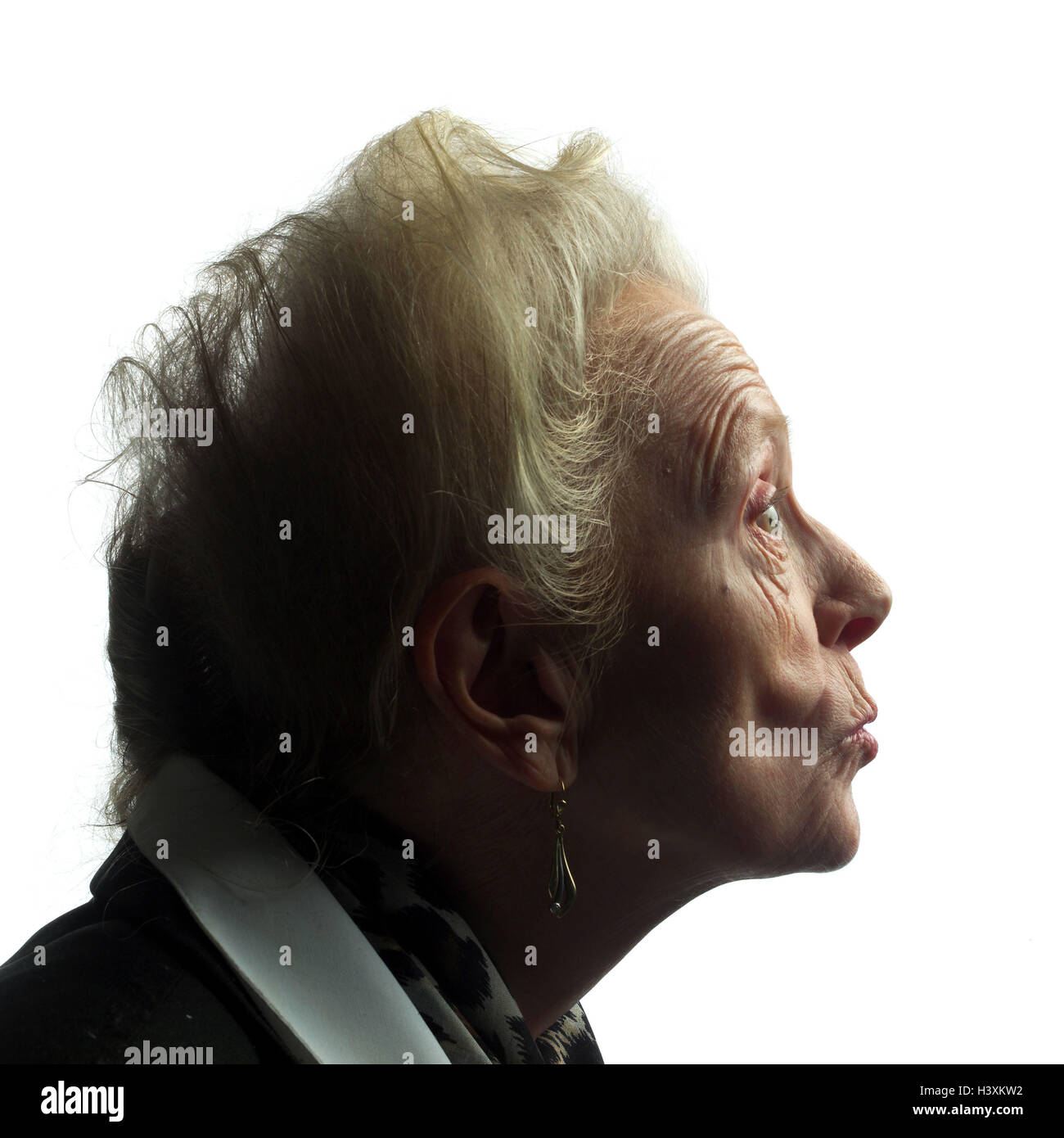 Senior, annoys, tread, model released, studio, cut out, pensioner, woman, old, old age, look, shell, creased, folds, Stock Photo