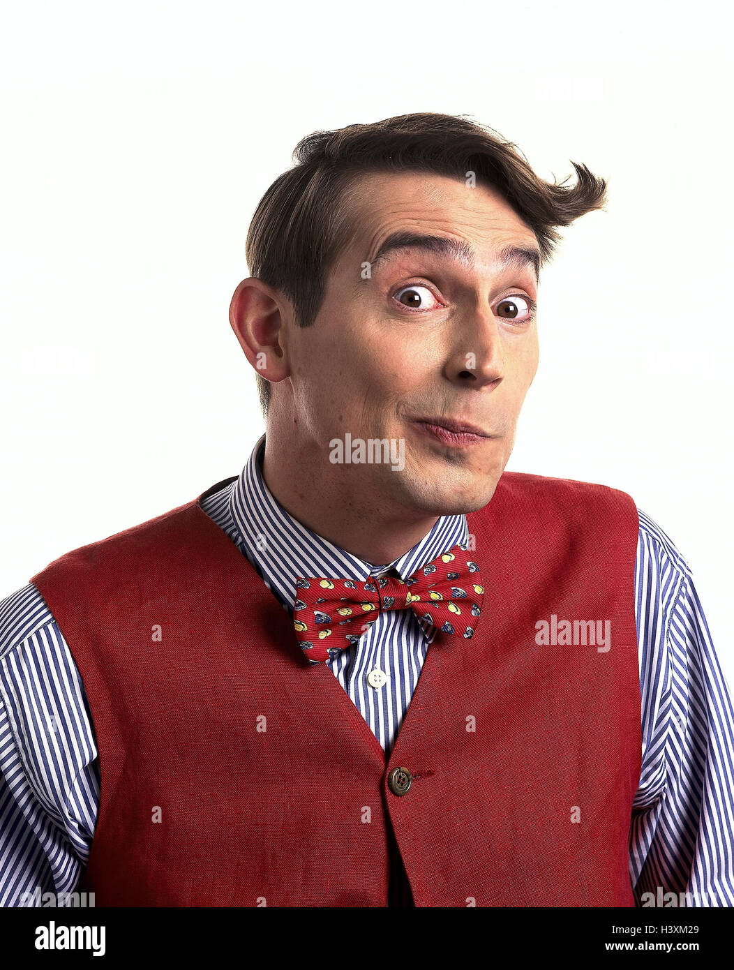 Man, young, page apex, mop hair, shirt, waistcoat, fly, facial play, interrogatorily, uncertainly, portrait, Men, - Stock Image