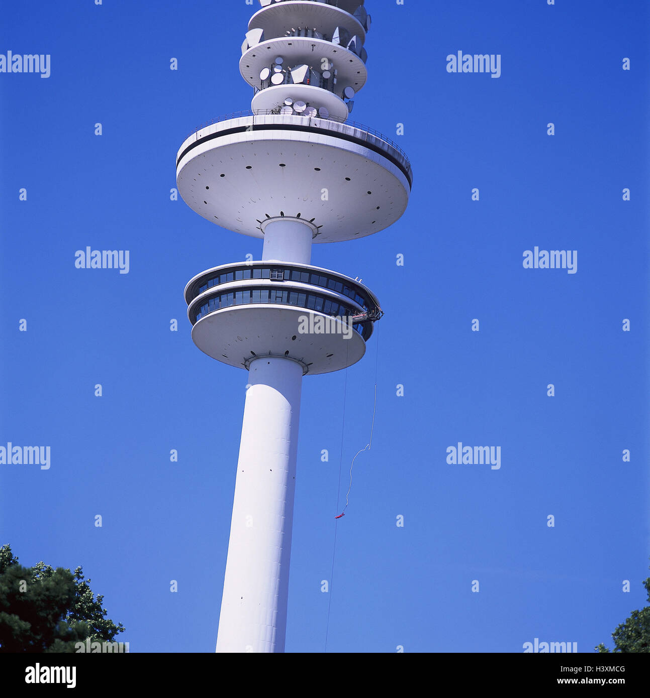Germany, Hamburg, television tower, detail, Bungeejumping, Europe, town, Bungee, TV tower, jump, crack, fall, saved, Stock Photo