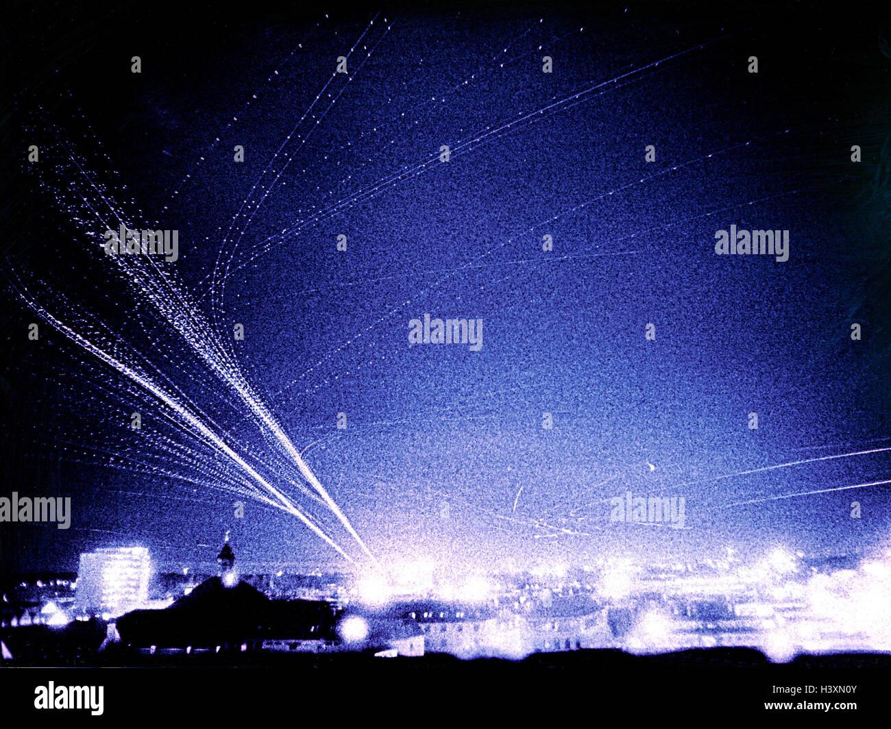 Composing, flight routes, instrument Landing system, ILS, night, blur, air traffic, air traffic, navigation system, - Stock Image