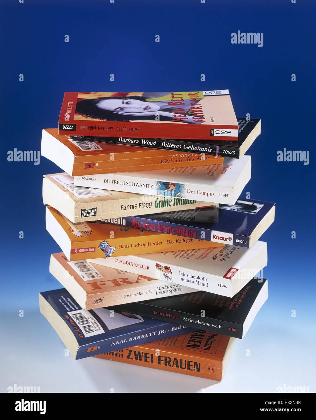 Book batch, books, paperbacks, stacked, batch, reading, leisure time reading, reading, Romans, Still life, product - Stock Image