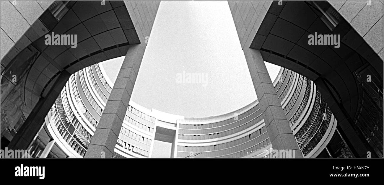 Germany, Offenbach am Main, Omega-Haus, detail, from below, b/w - Stock Image