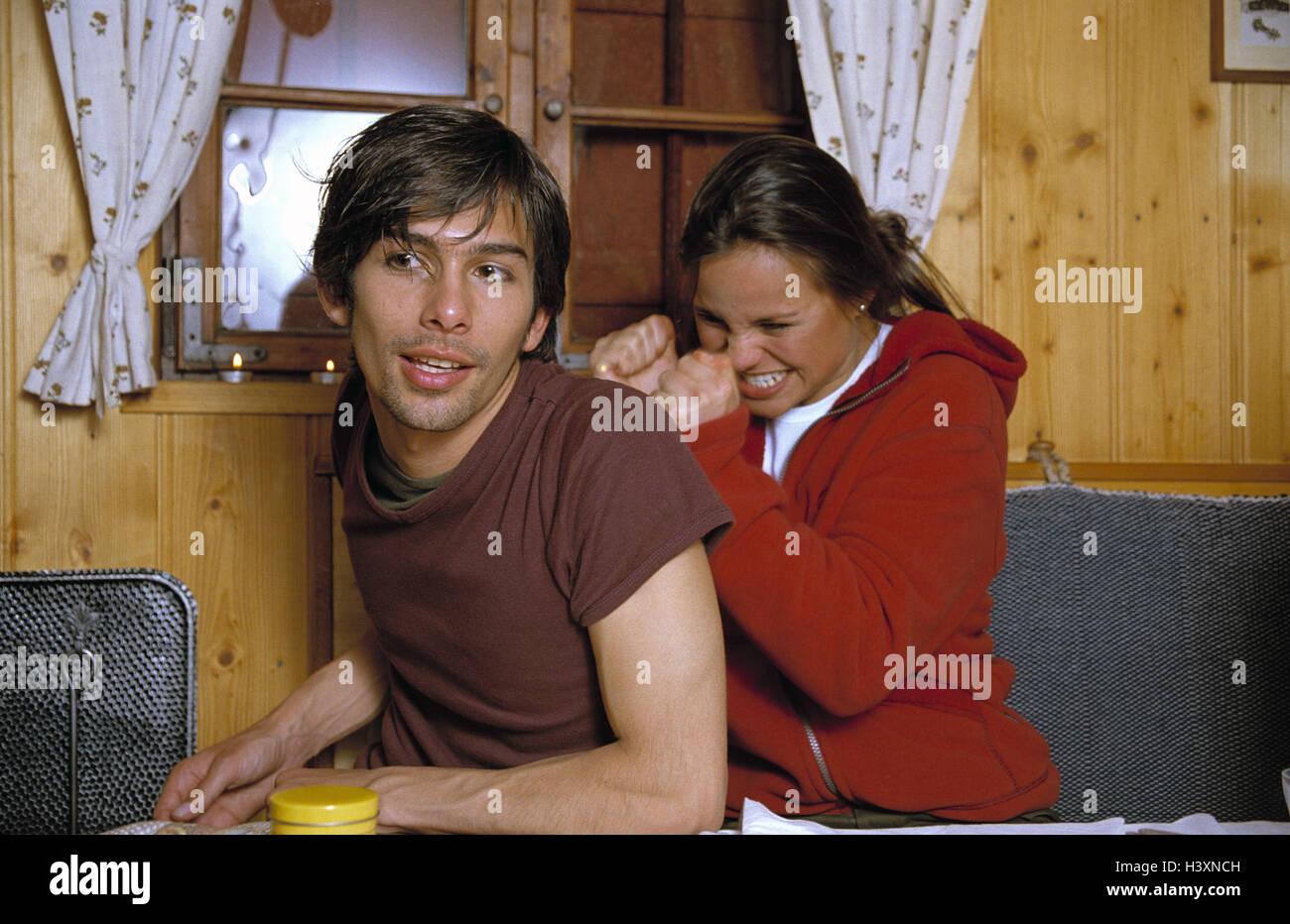 Steelworks evening, couple, young, fun, amusement, happy, hut, 'steelworks magic', friendship, 20-30 years, - Stock Image