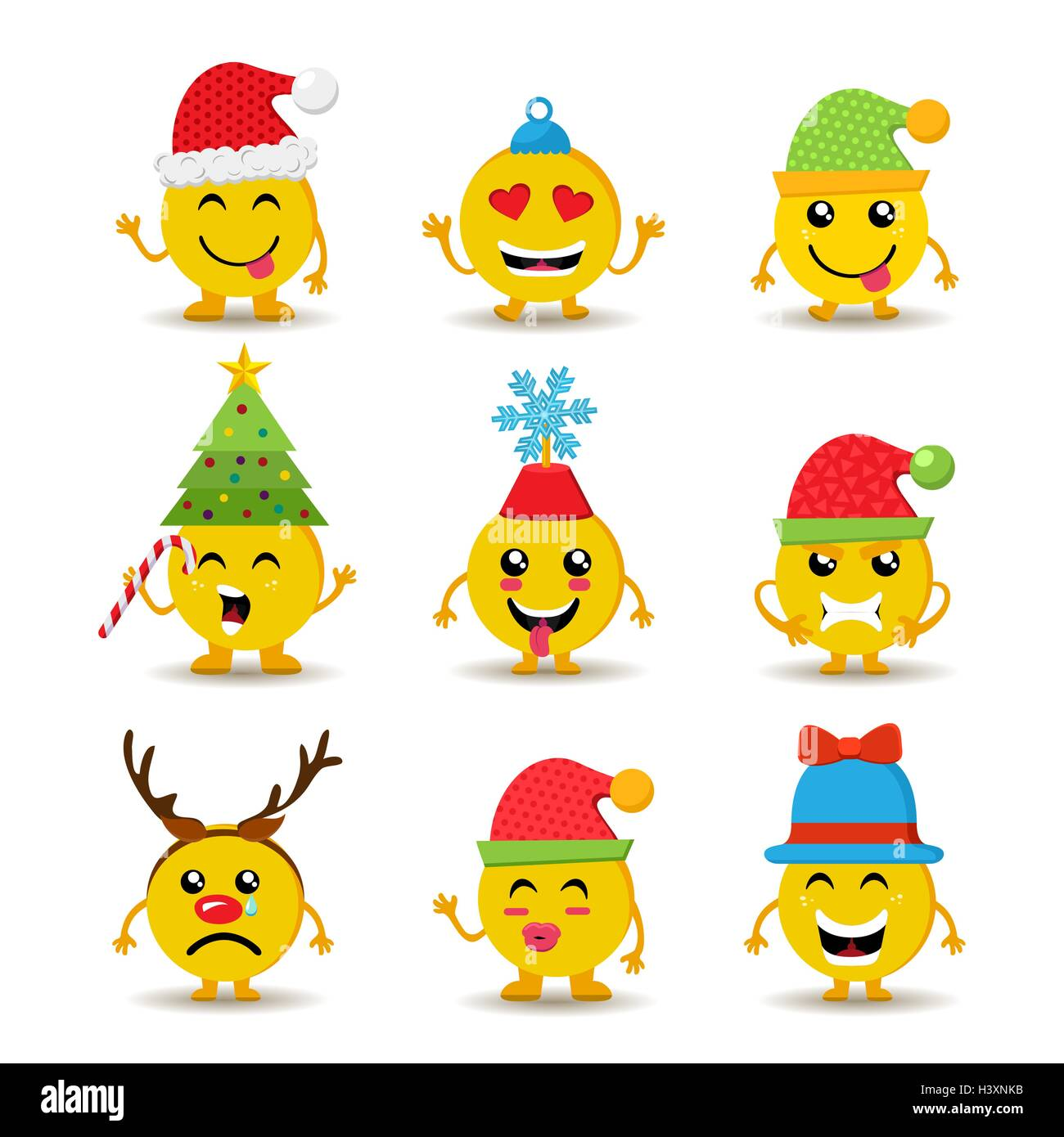 Christmas Emoji.Set Of Holiday Smiley Faces Christmas Emoji Icons With Cute
