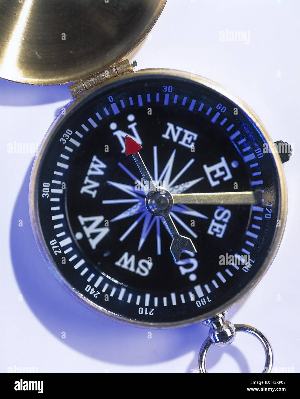 Compass, detail, navigation, orientation, guidance, signpost, heaven directions, measuring instrument, location - Stock Image