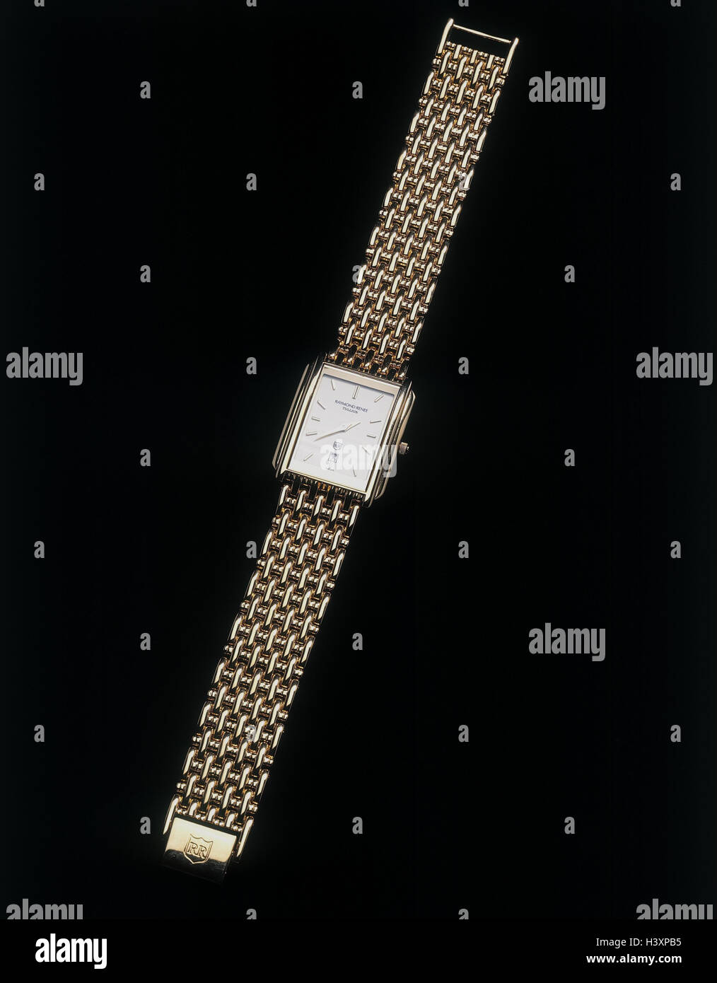 Wristwatch, golden, clock, chain bracelet, pointer, time, minute, hour, time measurement, time knife, punctuality, - Stock Image