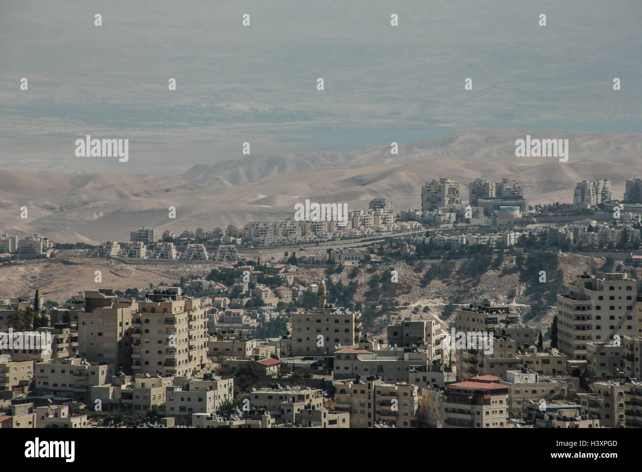 A view over East Jerusalem with the Dead Sea in the distance. From a series of photos commissioned by  British NGO, - Stock Image