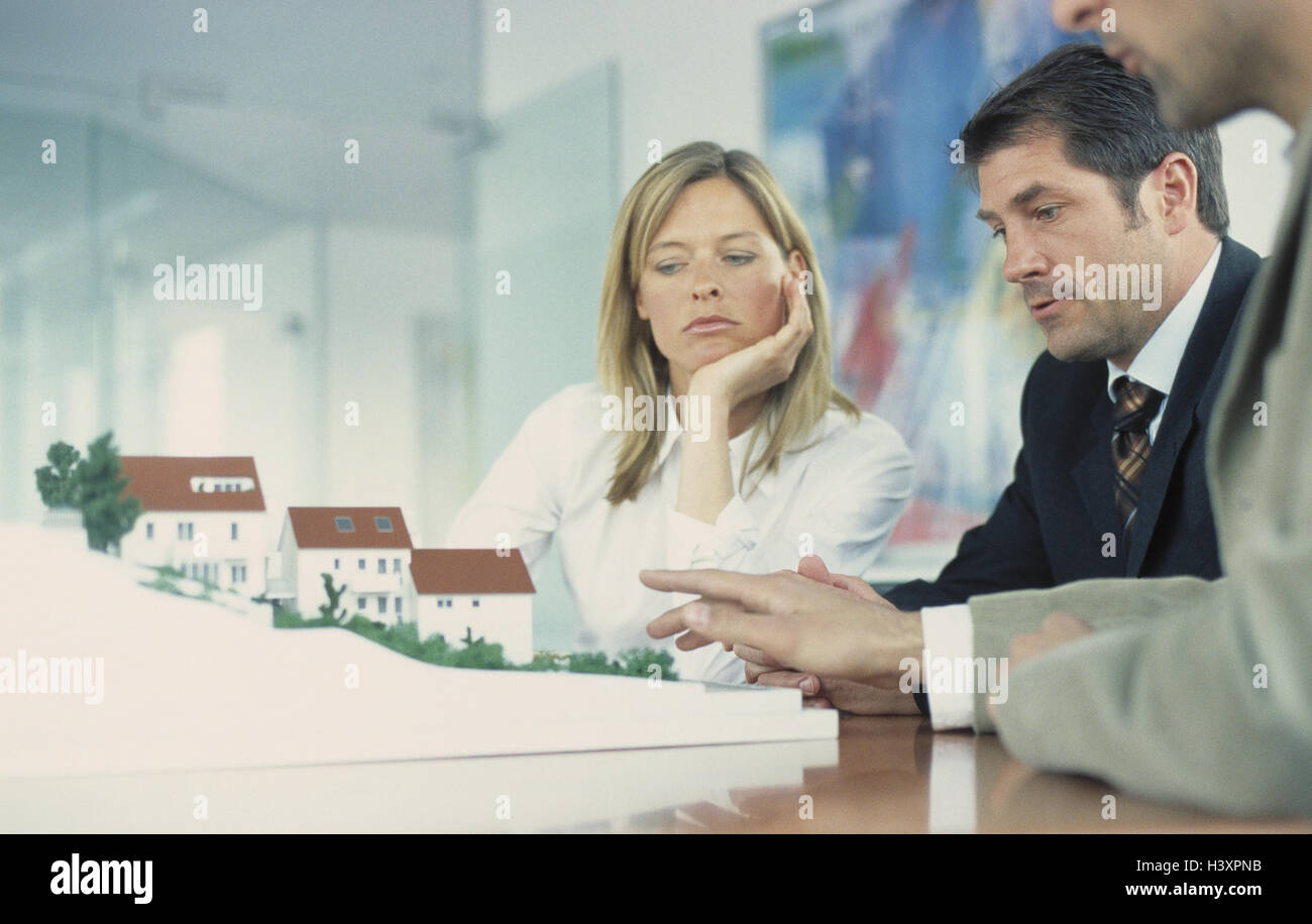 Architect, employees, model, discussion, presentation, business, occupation, architect, architecture office, woman, - Stock Image