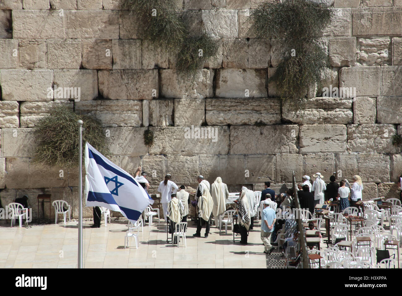 A view of the western wall, also known as the wailing wall, in the old city of Jerusalem. From a series of photos - Stock Image