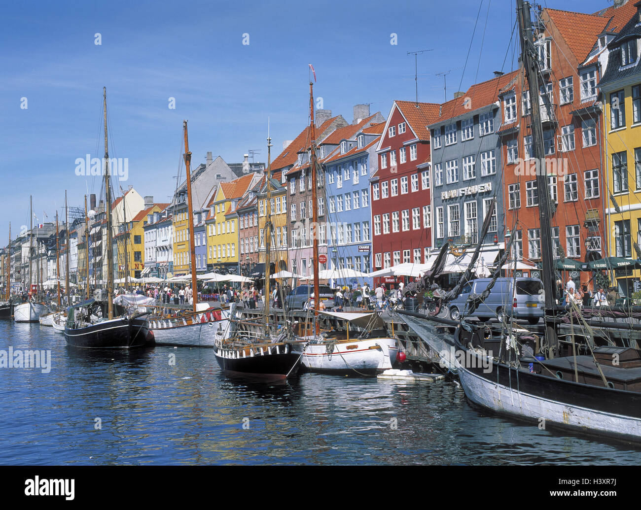Denmark, Copenhagen, town view, Nyhavn, bite channel, ships, Europe, Scandinavia, capital, Old Town, waterway, channel, - Stock Image