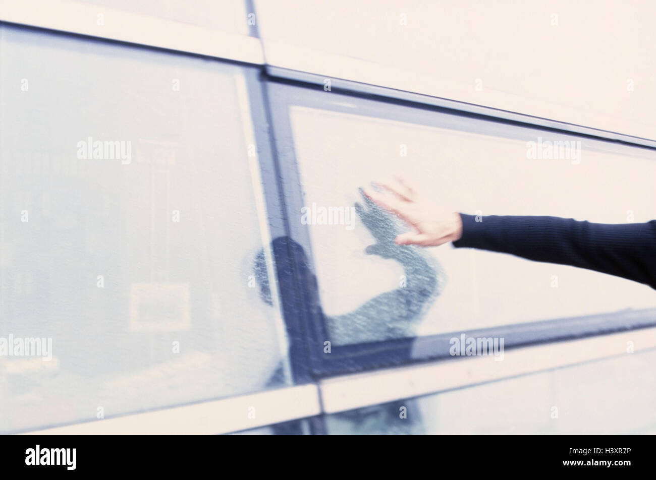 Buildings, glass front, man, hand, touch, mirroring, detail, outside, person, window pane, windowpane, wet, feel, Stock Photo