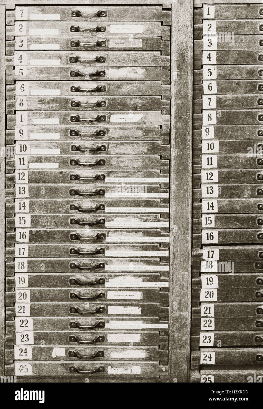Printing work, letter cases, numbering, b/w, sepia, Stock Photo