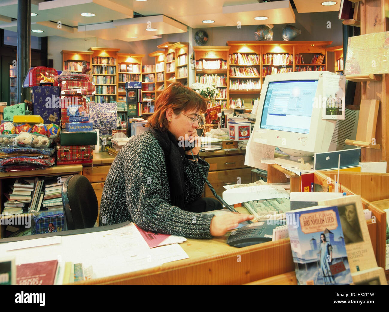 Germany, Bavaria, court, bookstore, bookseller, inside, bookstore Kleinschmidt, sales, sell, books, retail trades, - Stock Image