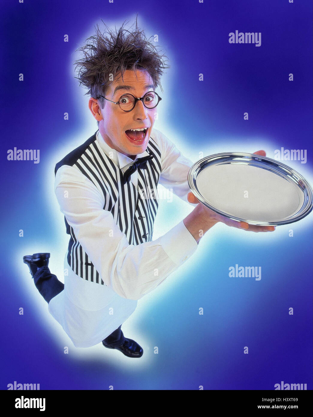 Waiters, glasses, silver tablet, carry, facial play man, service, waiters, gastronomy, serve, serve, bring, presentation, - Stock Image