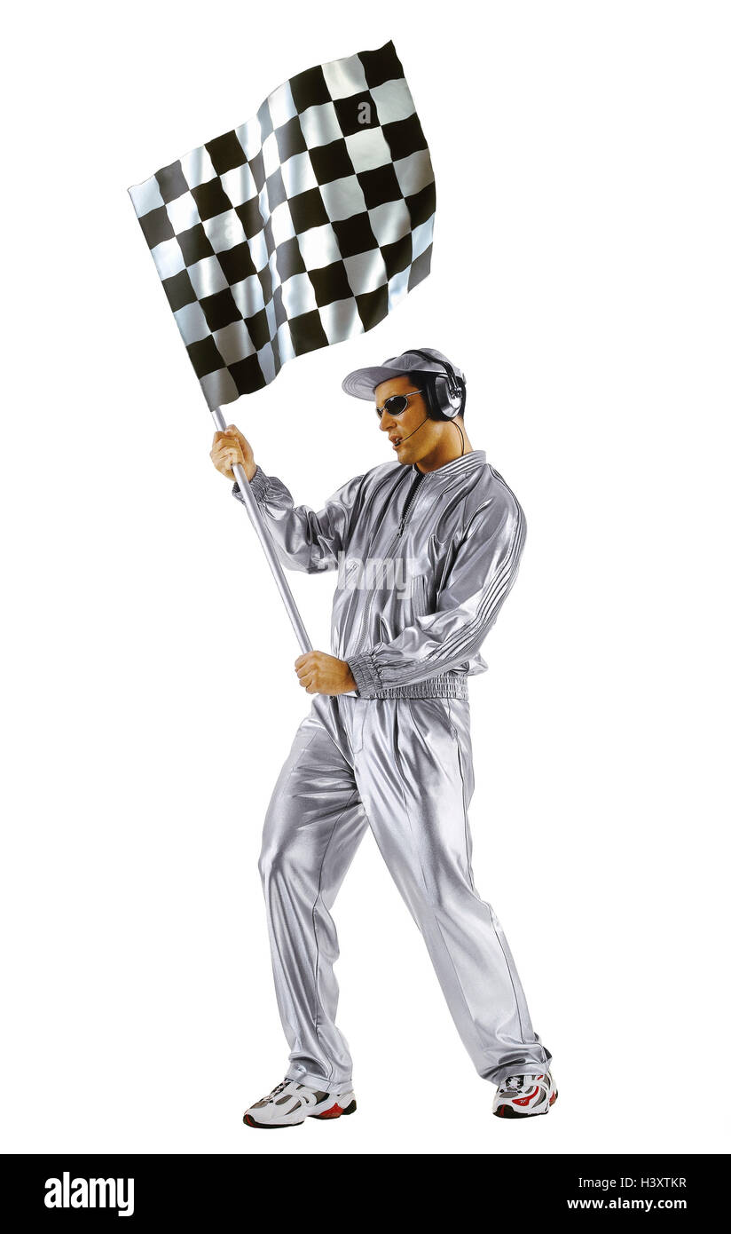 Man, clothes, cap, silver, sunglasses, headset, checkered flag, gesture, concepts, futuristic, science fiction, - Stock Image