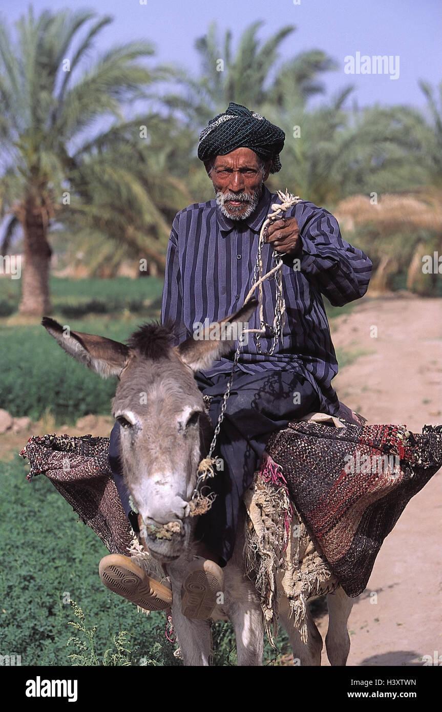 Iran, man, old, ride, donkey, pawn, farmer, beast burden, Tragtier ...