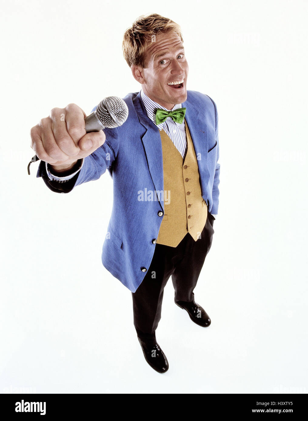 Reporters, sports jacket blue, microphone, request, interview, gesture, Men, report, journalist, man, coverage, - Stock Image