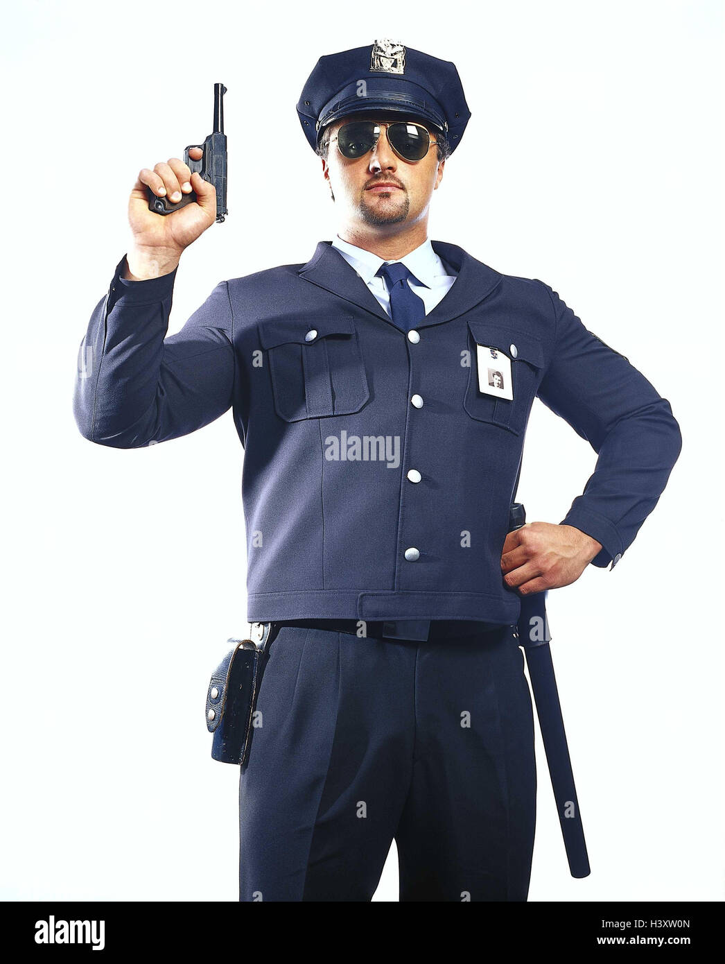 Policeman, watchman, sunglasses, gun, studio, cut out, man, occupation, police, arms, security staff, marking, watch, - Stock Image