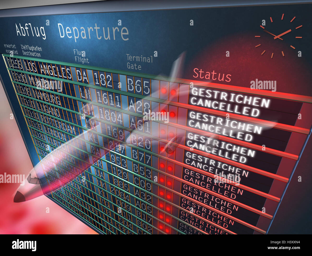 Composing, airport, indicator panel, flight data, airplane Stock