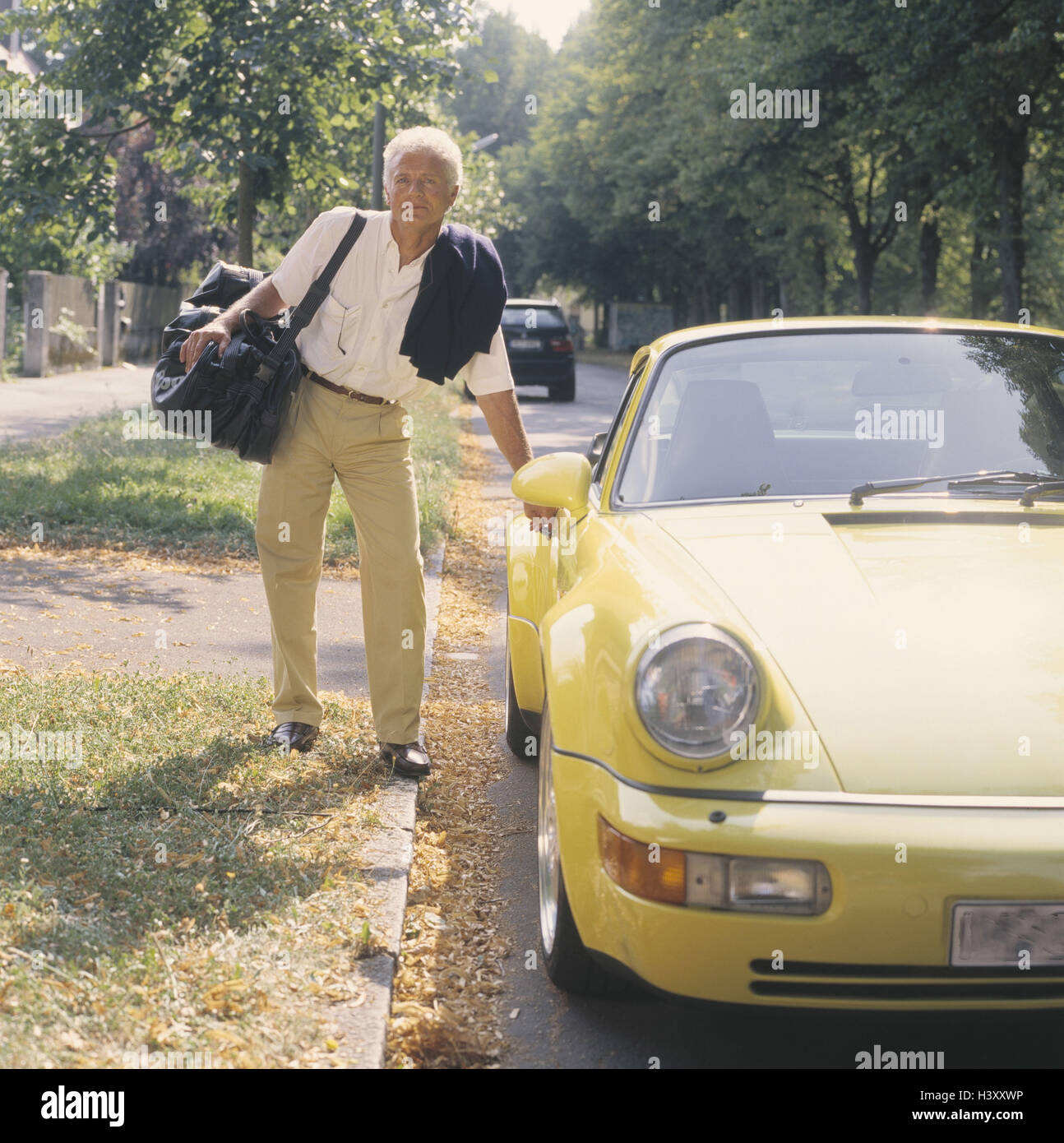 Delightful Man, Middle Old Person, Porsche, Unlock, Travel Pouch, 40 50 Years,  Grey Haired, Businessman, Well To Do, Wealth, Luxury, Luxury Car, Passenger  Car, ...