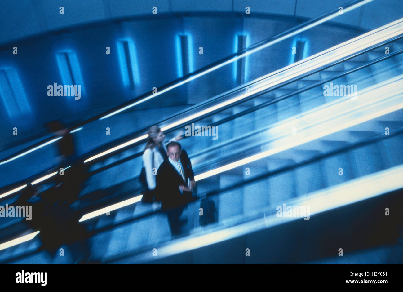 Airport terminals, detail, escalator, travellers, inside, airport, Dusseldorf, manager, upward, stairs, movably, - Stock Image