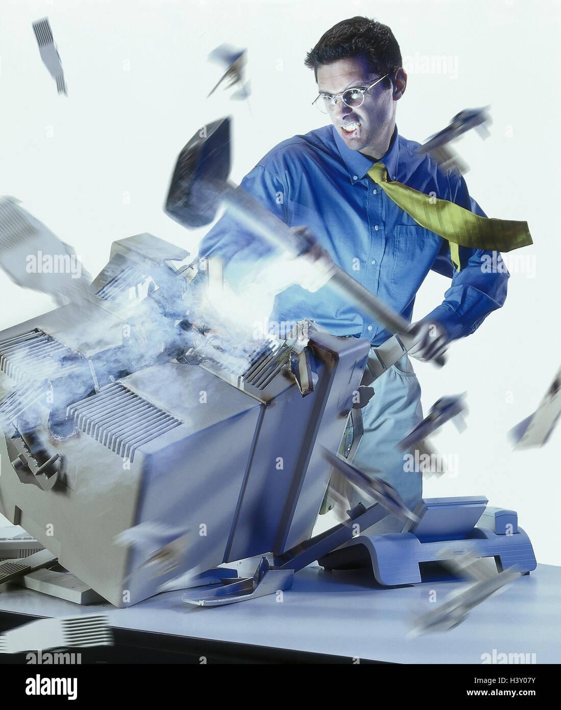Man, computers, sledgehammer, destruction, icon, computer crash, [M], power, crash, system, system fault, virus, Stock Photo