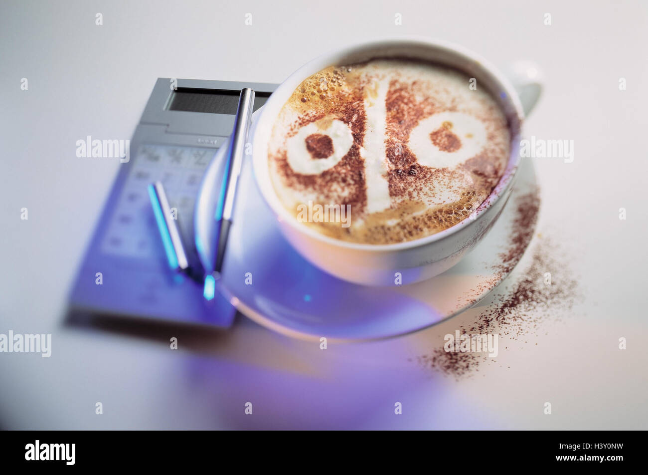 cup cappuccino lacteal froth percent sign electronic calculator