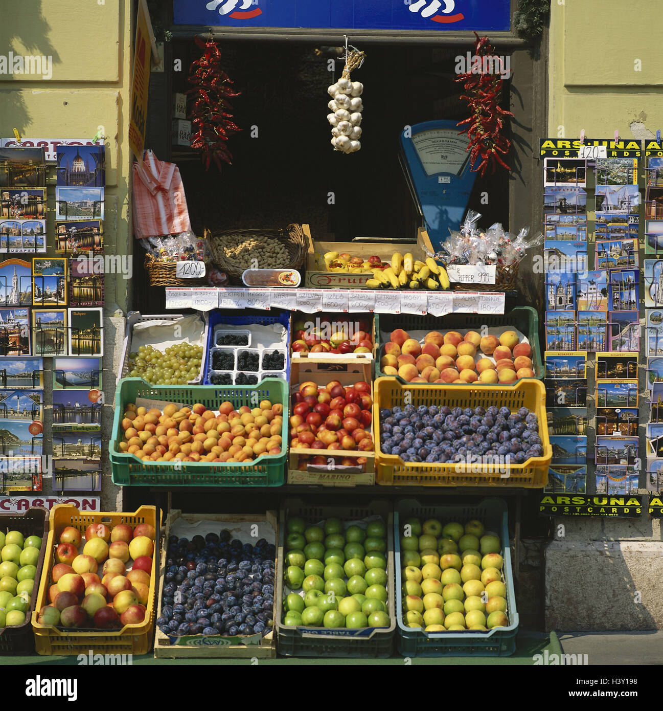 Hungary, Budapest, business, sales, fruit, postcards, Europe, capital, economy, sell, fruits, apples, apricots, - Stock Image