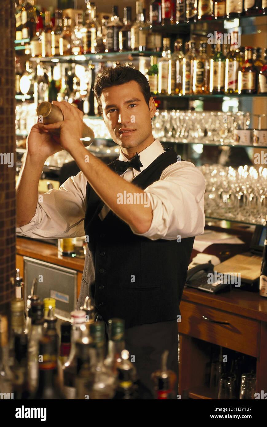 Cash, barkeepers, shakers, inside, bar, bar, waiter, waiter, occupation, part-time job, cocktails, drinks, drinks, Stock Photo