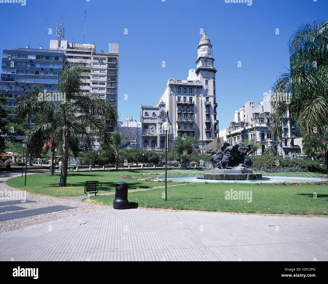Uruguay, Montevideo, town view, plaza Fabini, well, South America, capital, town, space, park, fountain Stock Photo