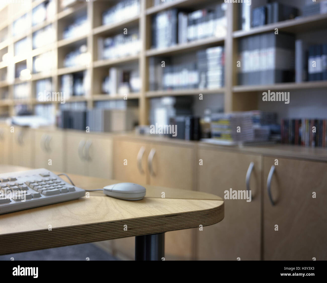 office wall shelving. Office, Wall-to-wall Shelving, Desk, Detail, Computer Keyboard, Mouse, Interior Arrangement, Wall Unit, Shelves, Books, Folders, CD\u0027s, Reference Office Shelving N