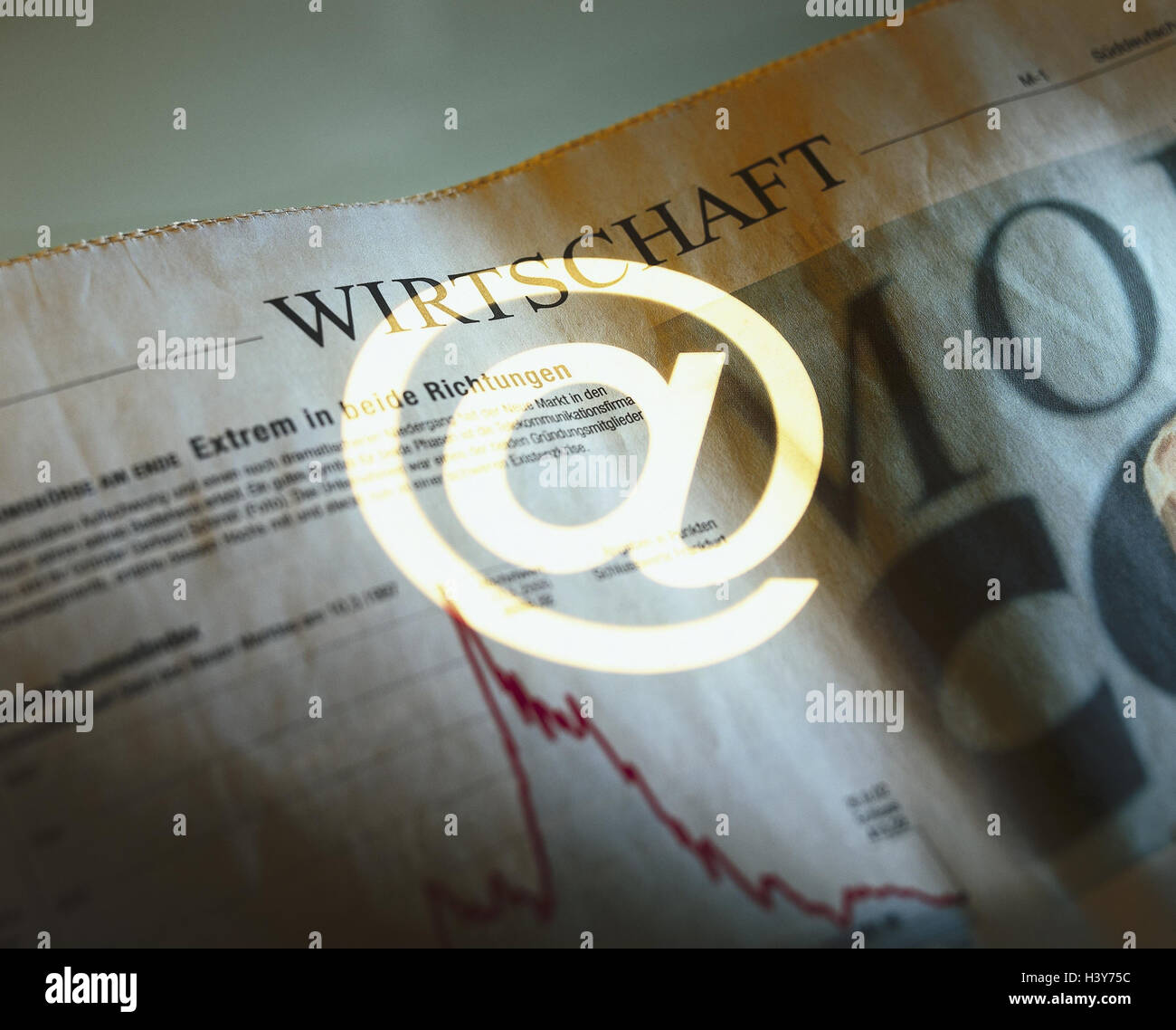Composing, economic newspaper, at-sign, Internet, online, contact, e-mail, communication, economy, online, economic - Stock Image