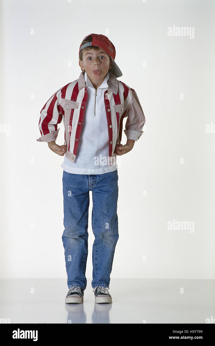 Boy Tongue Show Inside Studio Child Sign Cap Denim Jacket