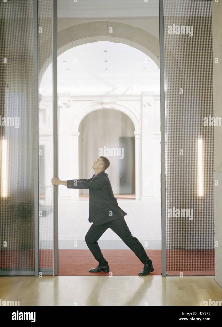 open office doors. Brilliant Open Office Buildings Businessman Sliding Door Open Push Side View  Man Manager Glass Doors Push Opening Founders  Inside Open Doors