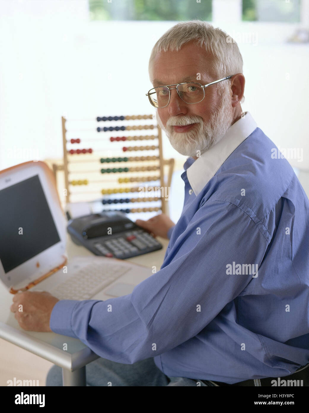 Senior, glasses, iBook, calculating machine, abacus, icon, development, progress, interest man, continuing education, - Stock Image