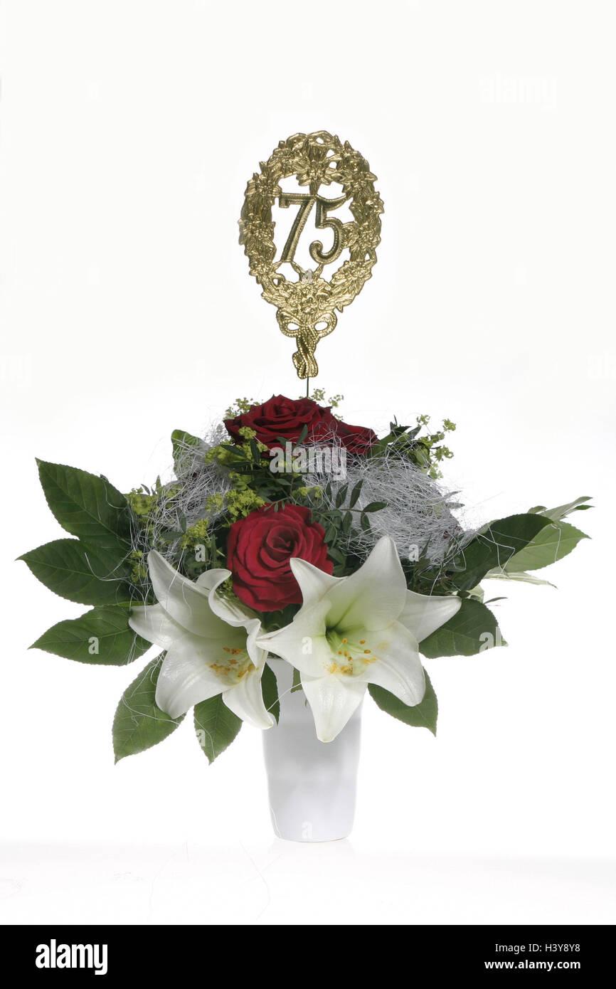 Bouquet flowers golden wedding anniversary stock photos bouquet vase bouquet jubilee number 75 golden flower vase bunch izmirmasajfo