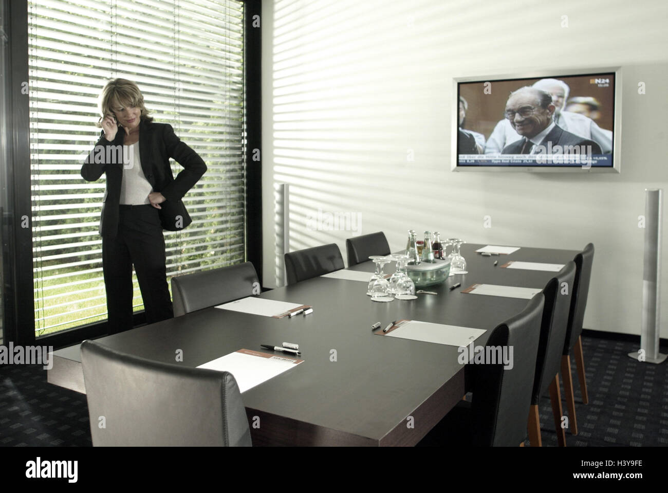 Meeting Room Woman Young Mobile Phone Call Up Conference Room - Mobile conference table