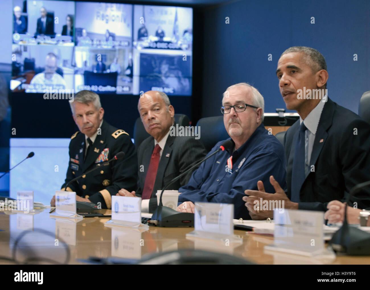 President Barack Obama talks on phone to FEMA Administrator Photo Print