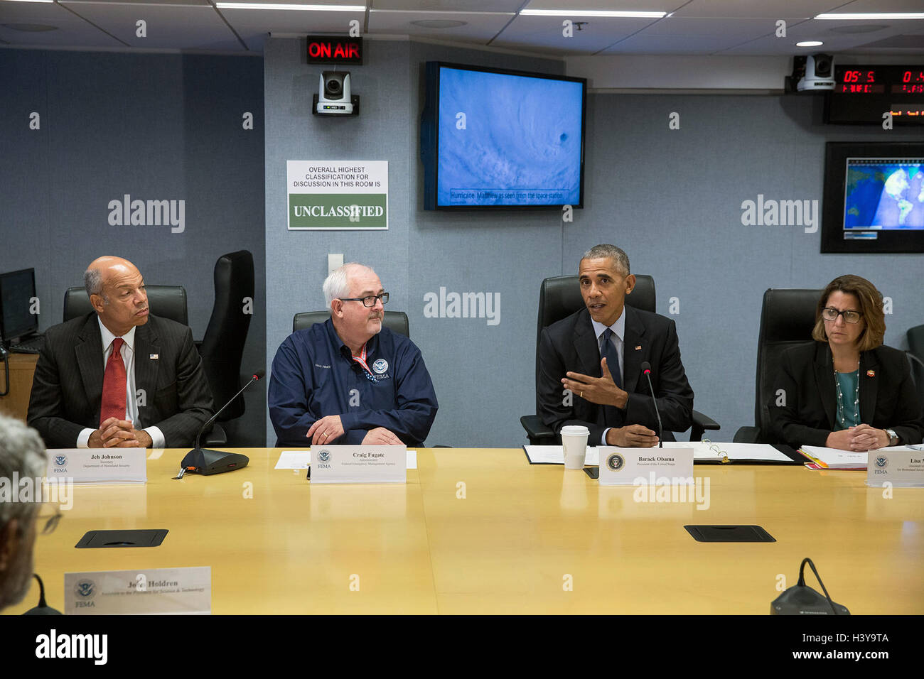 U.S President Barack Obama speaks to the media after being briefed on Hurricane Matthew during a visit the Federal - Stock Image
